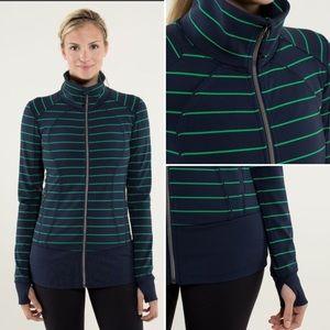 Lululemon Nice Asana Jacket Green Bean stripe